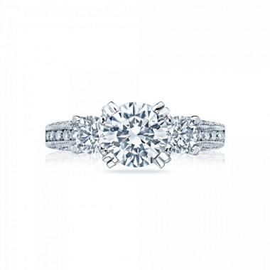 Classic Crescent Three Stone Ring Setting