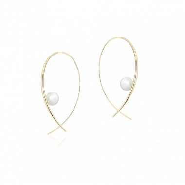 Birks Gold and Pearl | Freshwater Pearl Hoop Earrings