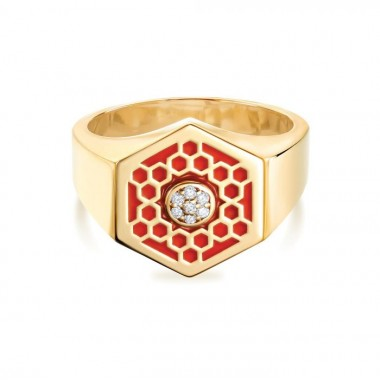 Birks Bee Chic | Red Enamel and Diamond Hexagon Signet Ring in Yellow Gold