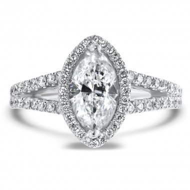 Marquise Diamond Halo Ring by Noam Carver