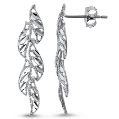 Diamond Cut Leaf Earrings