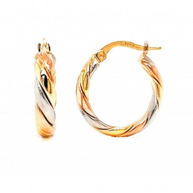 Tri-gold Hoop Earrings