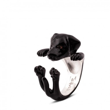 Black Labrador Hug Ring