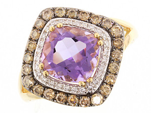 Amethyst and diamond rose gold ring from cjex.net
