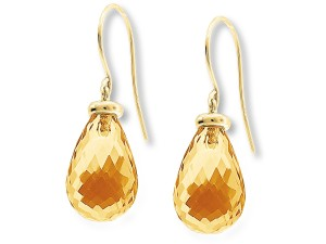 Faceted citrine drop earrings from cjex.net