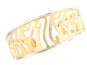 Two tone open cuff in yellow and white gold from cjex.net