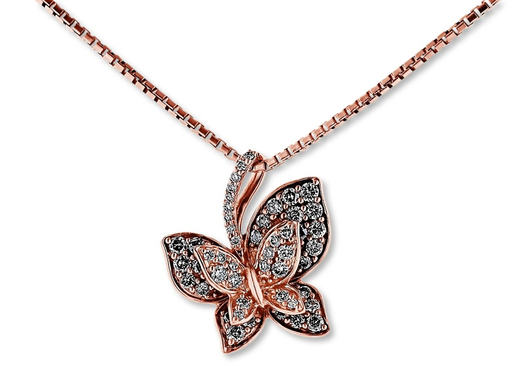Levian rose gold butterfly diamond necklace from cjex.net